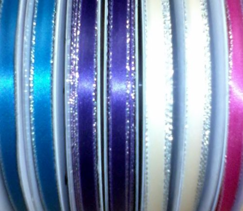 """Ribbon - 1/4"""" with silver edge 50yds spool"""