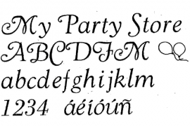 36pt. Goudy Cursive (Spanish Accents Available)