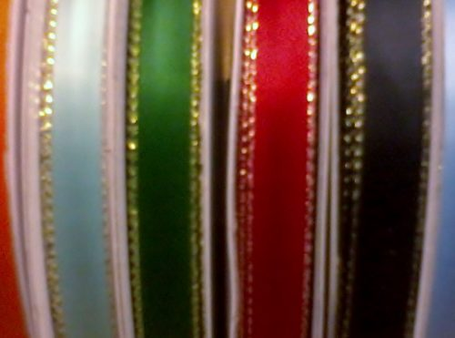 """Ribbon - 3/8"""" With Gold Edge 50yds Spool"""